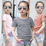 CHILDREN'S CLOTHING GIRLS-SHIRT SHORT-SLEEVED GIRLS INSTALLED CHILDREN STRIPED-SHIRT