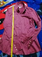 Long Sleeve Maroon Pink Dress Shirt