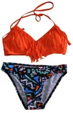 Orange Fringe Two Piece Bikini