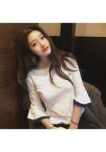 [PRE-ORDER] Women Basic Simple T-Shirt Lotus Leaf Sleeve