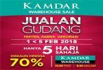 KAMDAR: Warehouse Sale; 1-5 Feb 2018; No.1, Jalan 241, Seksyen 51 A, PJ.