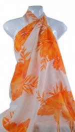 Orange Floral Beach Scarfs