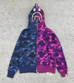 Bape Blue Purple Full Zip Shark Hoodie